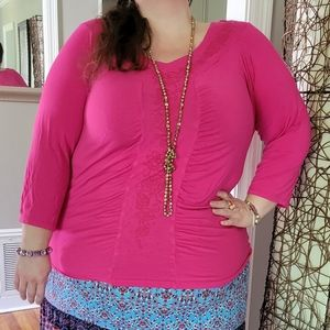 Avenue Pink Ruched Beaded Shirt Size 22/24